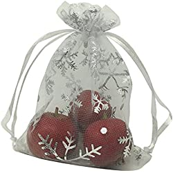 MELUOGE 100pcs 5X7 Inches Organza Drawstring Jewelry Pouches Bags Party Wedding Favor Gift Bags Candy Bags (Snowflake)