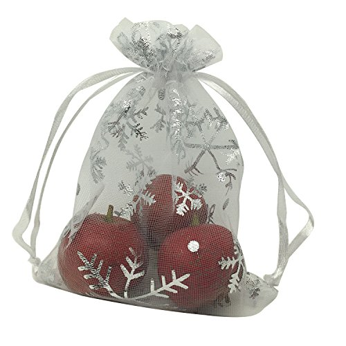 MELUOGE 100pcs 5X7 Inches Organza Drawstring Jewelry Pouches Bags Party Wedding Favor Gift Bags Candy Bags (Snowflake) (Snowflake Favors)