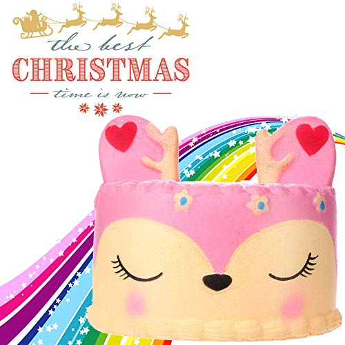 Creazy Adorable Squishies Pink Deer Cake Slow Rising Fruit Scented Stress Relief Toys -