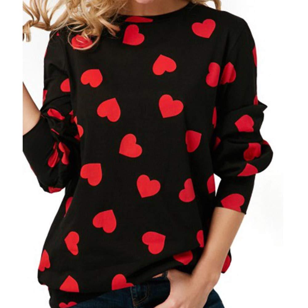 Kemilove 2018 Women Casual Heart Printed Long Sleeve Pullover Blouse Shirts Sweatshirt