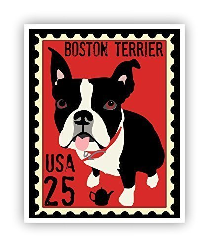Terrier Postage Stamp - Boston Terrier Poster Postage Stamp Art 11x14 Dog Wall Decor