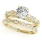 1/2 Ct. Halo Diamond Engagement Bridal Ring Set 10K Solid Yellow Gold
