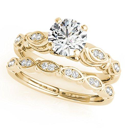 MauliJewels 1/2 Ct. Halo Diamond Engagement Bridal Ring Set 10K Solid Yellow Gold ()