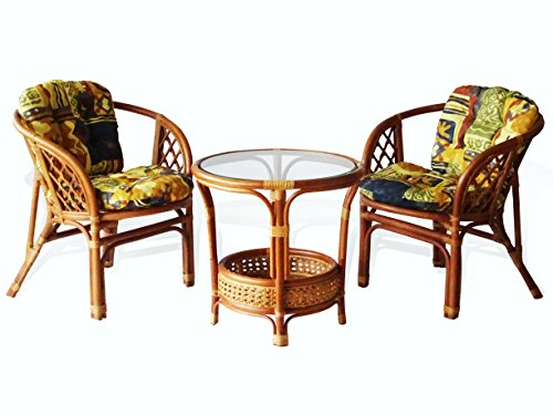 - Lounge Set of 3: 2 Natural Rattan Wicker Bahama Armchairs with Cushion and Round Coffee Table Tropical Style, Colonial