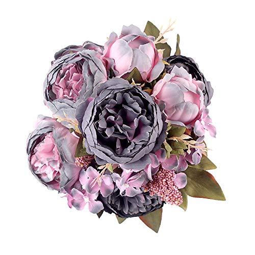 Shengyuan Artificial Flowers Fake Silk Peony Flower Bouquet Floral Plants Decor for Home Garden Wedding Party Decor Decoration,Gray ()