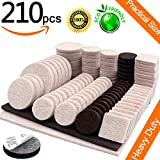 #8: Furniture Pads Self Adhesive Felt Furniture Pads 210pcs Two Color Assorted Size Heavy Duty Furniture Felt Pads Chair Leg Floor Protectors for Furniture Feet Protect Laminate Hardwood Floors No Scratch
