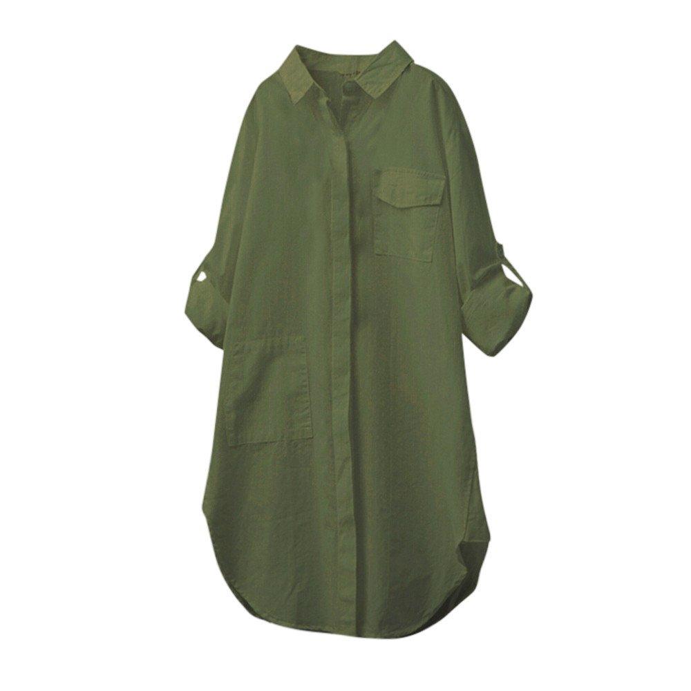 Kobay Lino Cotone delle Donne Casuale Solido Camicia a Maniche Lunghe Camicetta Button Down Top