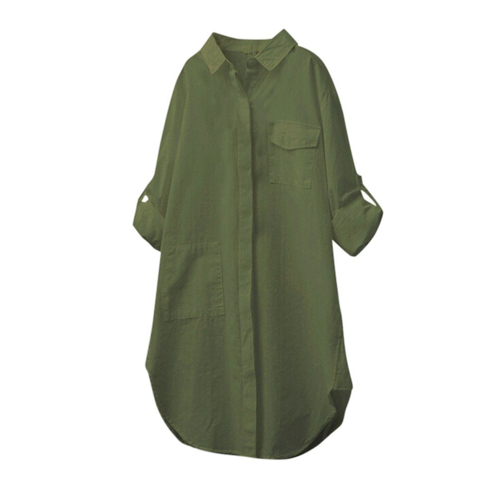 Blouse For Women-Clearance Sale, Farjing Casual Solid Long Sleeve Shirt Button Down Tops Blouse (US:10/XL,Army Green)