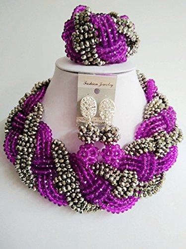 """laanc Nigeria África 6mm pulsera de perlas de cristal 18""""collar collar morado y plata"""