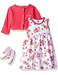 Baby Girls' 3 Piece Dress, Cardigan, Shoe Set