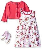 #2: Hudson Baby Baby Girls' 3 Piece Dress, Cardigan, Shoe Set