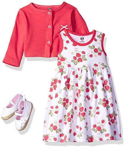 4 Piece Strawberry (Hudson Baby Baby Girls' 3 Piece Dress, Cardigan, Shoe Set, Strawberries, 3-6 Months)