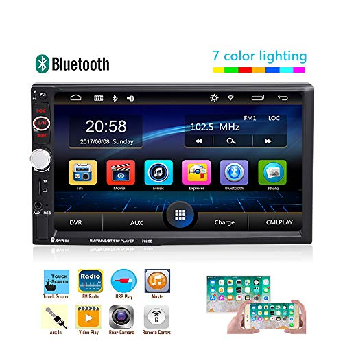 Screen Capacitance Touch - AMprime Car Stereo 2 din 7 inch Capacitance Touch Screen with USB/AUX/SD/TF Jack Bluetooth FM Radio MP5 Player Support Backup Camera Input + Remote Control