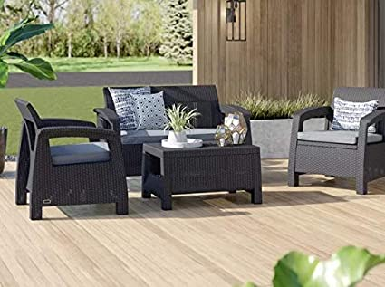 Amazon Com Ark Studios Sunroom Furniture Sets Charcoal Plastic