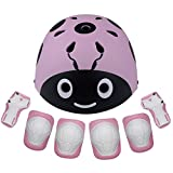 Lanova Kids Adjustable Protective Gear Set, Child Cartoon Helmet Knee Elbow Pads Wrist Guards for Roller Bicycle BMX Bike Skateboard Hoverboard and Other Extreme Sports Activities