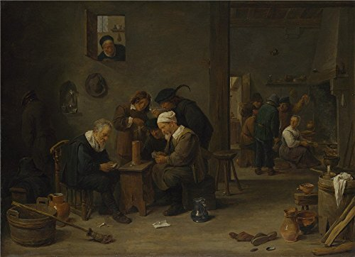 Polyster Canvas ,the Amazing Art Decorative Canvas Prints Of Oil Painting 'David Teniers The Younger Two Men Playing Cards In The Kitchen Of An Inn ', 20 X 28 Inch / 51 X 70 Cm Is Best For Home Theater Decoration And Home Decor And Gifts