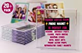 NSD5 Premium Blank Clear Acrylic Fridge Photo Insert Magnets Sturdy Transparent Plastic DIY Refrigerator Magnet Set, 4x4 Size, Ideal for Souvenirs, Wedding Gifts & Keepsakes (20, 4x4 (2 Free))