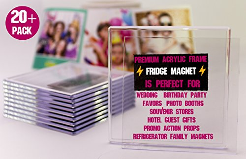 NSD5 Premium Blank Clear Acrylic Fridge Photo Insert Magnets Sturdy Transparent Plastic DIY Refrigerator Magnet Set, 4x4 (Approx) Size, Ideal for Souvenirs, Wedding Gifts & Keepsakes (20+2 Free)