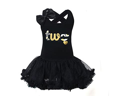 82b6e33bd9d Amazon.com  G G Little Girls Black and Gold 2nd Birthday Tutu Dress  Multicolored  Clothing