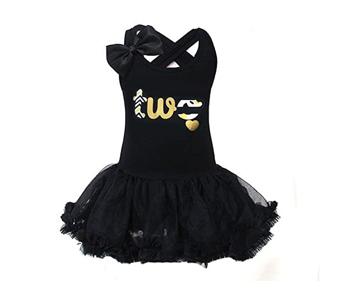 Amazon Gg Little Girls Black And Gold 2nd Birthday Tutu Dress