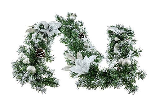Clever Creations Christmas Tinsel Style Garland Festive Holiday Décorations | Green Tinsel Body with Red Poinsettias, Gold Flower Petals and Sparkly Glitter | Classic Traditional Theme | 6.5' Long