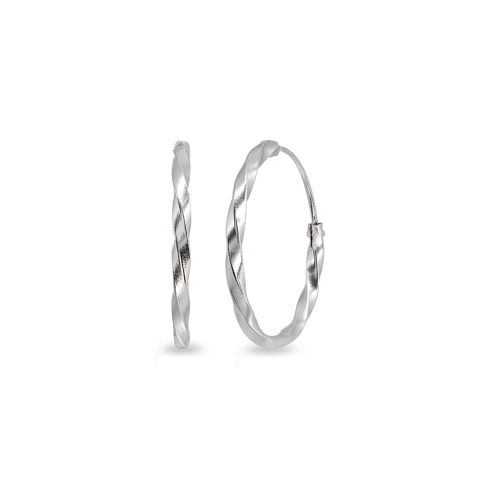 Sterling Silver Twist Small Endless 18mm Round Lightweight Unisex Hoop Earrings