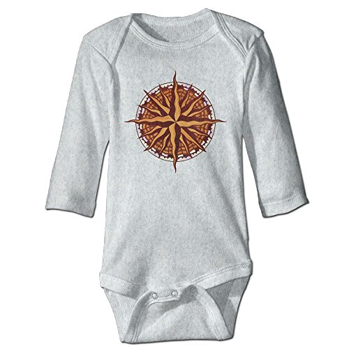 Richard Unisex Infant Bodysuits Compass Rose Wood Baby Babysuit Long Sleeve Jumpsuit Sunsuit Outfit 12 Months (Golf Sundial)