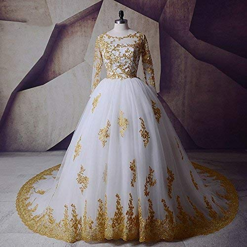 Gold Wedding Dresses.Amazon Com White And Gold Applique Ball Wedding Dresses For Bride