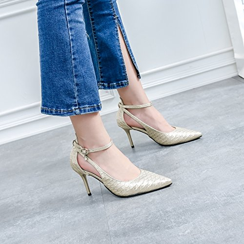 High Buckle Fashion Fine Word 8Cm Elegant Heels Work Shoes 36 Single Sexy Leisure Lady Sharp Spring One Shoes Leisure Career Heel Temperament MDRW Golden CwP10x7Cq