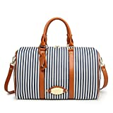 MooYang Women Fashionable Weekender Travel Duffle Tote Bag. Canvas Striped Bag for Overnight Trip,Work,College,Gym,Vacations.