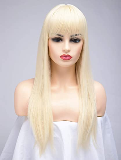 BESTUNG Peluca larga recta de rubio de ceniza para mujer, pelo sintético, pelo completo