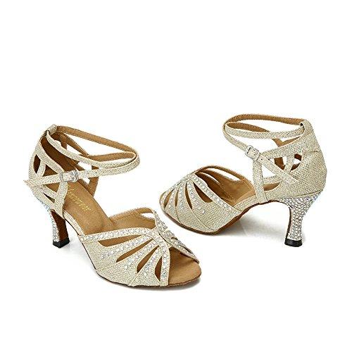 TTdancewear Frauen Strass Ballroom Dance Schuhe Latin Salsa Performance Tanzschuhe Gold-2,5 Zoll Heels