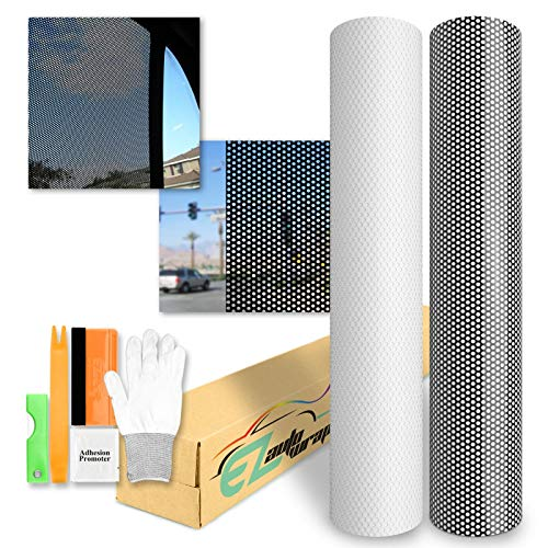 """EZAUTOWRAP Free Tool Kit White One-Way Vision Perforated Print Media Vinyl Privacy Window Film Adhesive Glass Wrap Roll - 24""""X60"""" (2FT X 5FT)"""