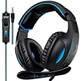 Xbox one Controller PS4 PC Gaming Headsets, GW Sades SA816 Over-ear Gaming Headphones 3.5mm Noise Cancelling Mic In-line Volume Control Led Light for Laptop Mac Computer (Black&Blue)