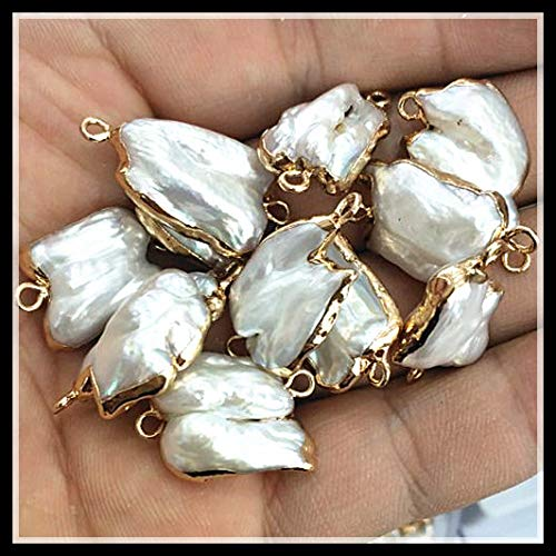 Calvas 4 Pieces Nature Biwa Pearl Cultured Freshwater Pearl connectors with Golden Color Size 10-15mm White Pearl Good Quality