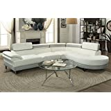 2Pcs Modern White Light Grey Faux Leather Sectional Sofa Chaise Set with Flip Up Headrest