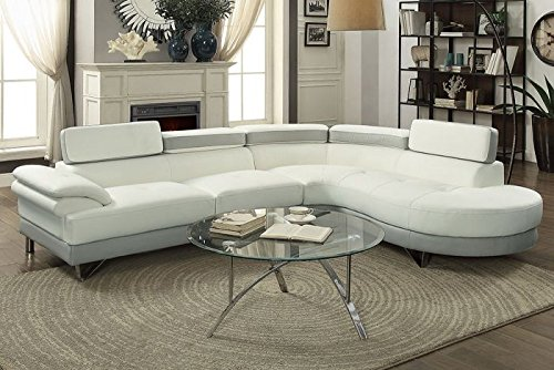 2Pcs Modern White Light Grey Faux Leather Sectional Sofa Chaise Set with Flip Up Headrest (Leather Sectional Set White)