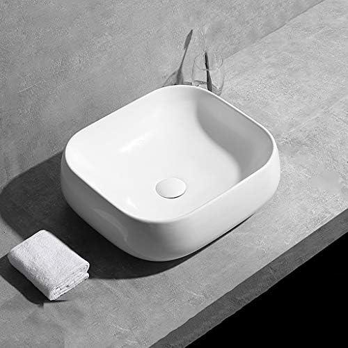 BoPin バスルームの洗面台、カウンター盆地洗面台家庭用浴室流域(蛇口なしシングル盆地)上記スクエアセラミック、利用可能な3つのサイズ ベッセルシンクシンク (Size : A)