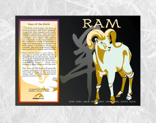 asian oriental chinese zodiac poster year of the ram birth years 1919 1931 1943 1955 1967 1979. Black Bedroom Furniture Sets. Home Design Ideas