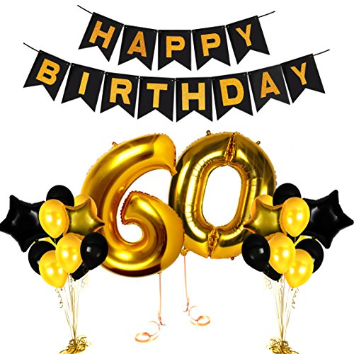(60th Birthday Decorations Wedding Anniversary Centerpieces Cake Topper Happy Bday Balloon Banner for Party Black and Gold Photo Booth Props Unique Supplies)