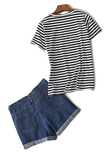 接続された旋律的アスペクト(サラローズ) SARAH ROSEレディース カジュアル デニム ショートパンツ 半袖 ボーダー Tシャツ セット ジーンズ 短パン + カットソー セットアップ 紺 白