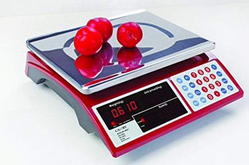Camry Digital Commercial Price Scale 66lb/30kg for Food Meat Fruit Produce with Dual Bright Red LED Display 15 Inches Platform Rechargeable Battery Included Not For Trade (Food Led)