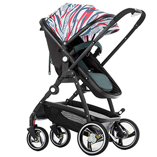 Baby Stroller,2 in 1 Pram and Pushchair, Compact High View Pram,Foldable Buggy with Adjustable Backrest (Color : Multi-Colored)