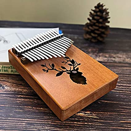 Color : Reindeer Portable 17 Keys Kalimba Thumb Piano Made By Single Board High-Quality Wood Mahogany Body Musical Instrument