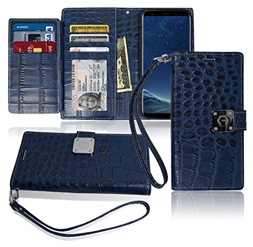 S8 Plus Wallet Case, Matt [ 8 Pockets ] 7 ID / Credit Card 1 Cash Slot, Power Magnetic Clip With Wrist Strap For Samsung Galaxy S 8 Plus Leather Cover Flip Diary (Blue) (Leather Presley Brown)
