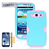 S3 Case, S3 Back Case, YEMARK(TM) Fashion Hybrid High Impact Bumpers Slim Back Protective Case For Samsung Galaxy S3 i9300[Soft Silicone Skin][+Stylus+Screen Protector+Cleaning Cloth]-(Blue+Pink), Samsung Galaxy S3 Case