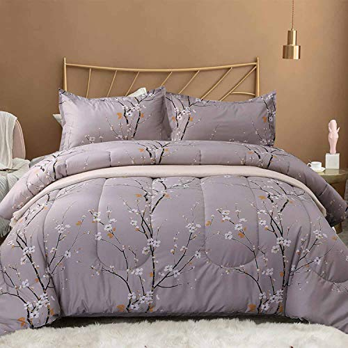 NANKO Queen Comforter Set 3pc 88 x 90 inch, Gray Pastel Floral Print Soft Microfiber Bedding - All Season Quilted Comforter with 2 Pillowshams - Farmhouse Bed Set for Women Men (Ladies Comforter Set)