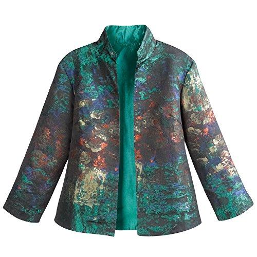 CATALOG CLASSICS Women's Monet Impressionist Print Jacket - Open Front High Collar - XL