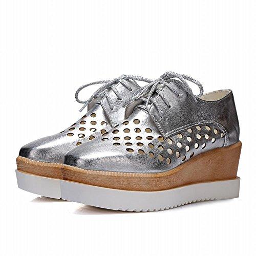 Carol Zapatos Fashion Mujeres Pierced Lace-up Brillante Hueco Cuña Mid Heel Oxfords Zapatos Plata