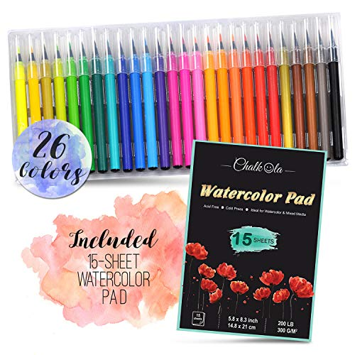 Watercolor Brush Pens | Set of 26 with 15-Sheet Paper Painting Pad with Water Brush | Water Color Paint Markers with Real Flexible Soft Nibs | 100% Non-Toxic | Paint -